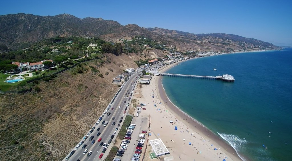 aerial view of PCH at Surfrider Beach