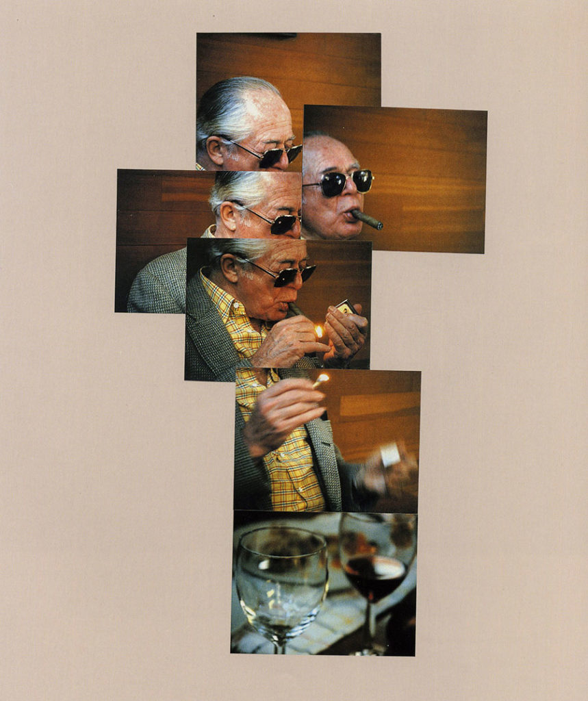 image of David Hockney's photo collage Billy Wilder lighting a cigar
