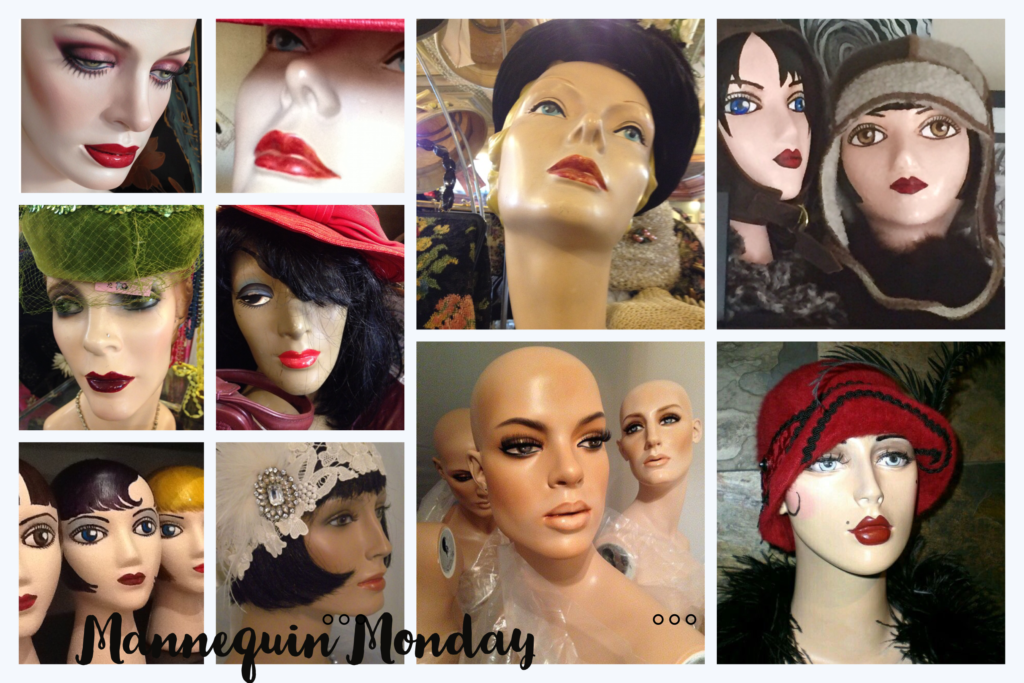 collage phots of mannequin heads